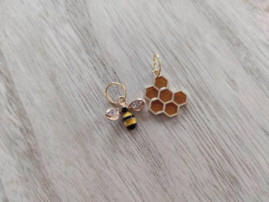 Duo d'anneaux marqueurs - Abeille et son miel- Tricot -Maloraé Designs