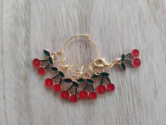 Lot anneaux marqueurs tricot - Cerises - Maloraé Designs