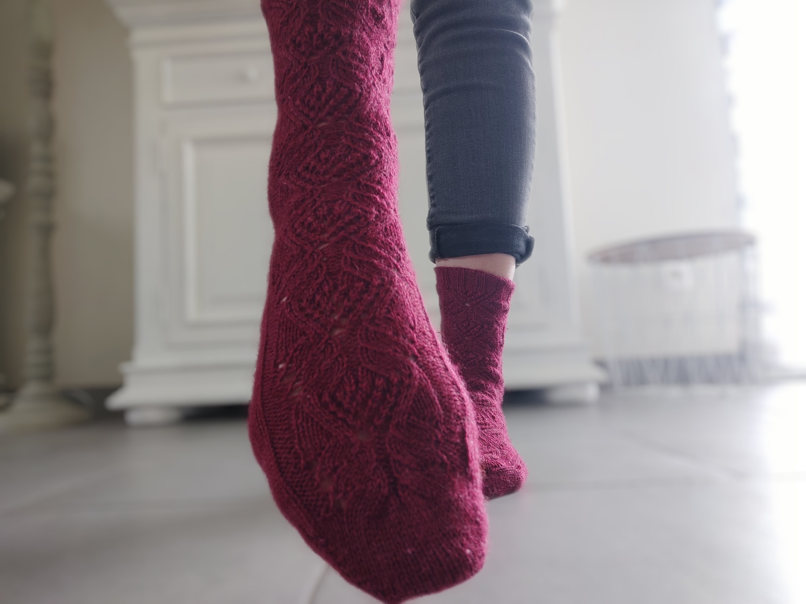 Amarante socks - collection chaussettes tricot - Maloraé Designs