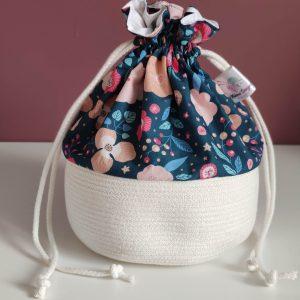 Panier projet tricot - Taille M - Fleurs bleues - Maloraé Designs