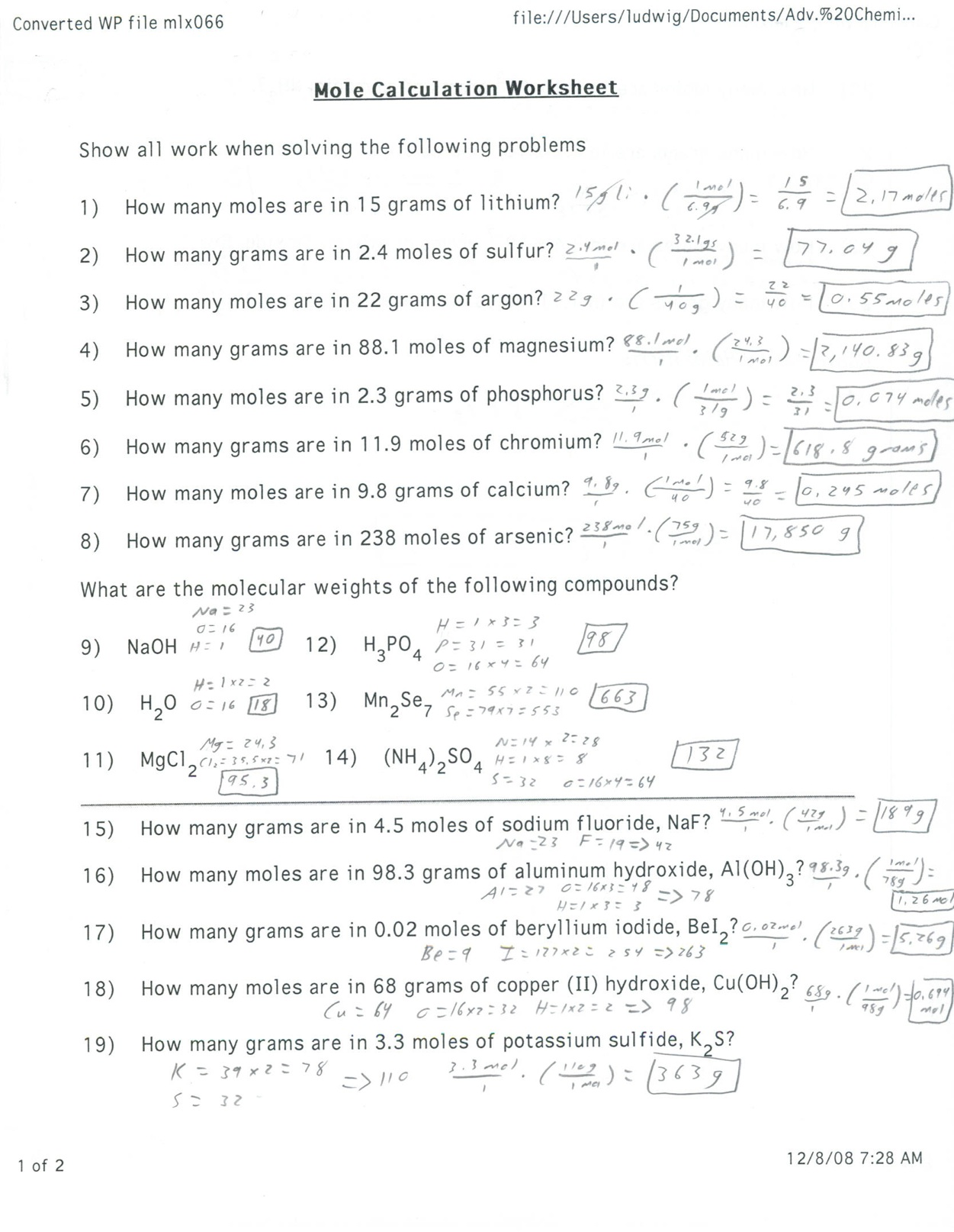 50 Chemistry Conversion Practice Problems Conversion