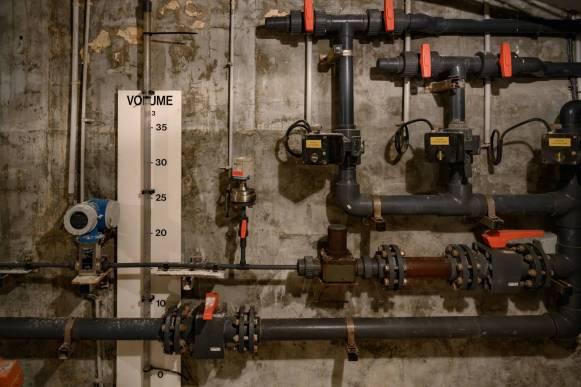 Le système de chloration de l'eau, utilisé jusqu'à la fin des années 90.