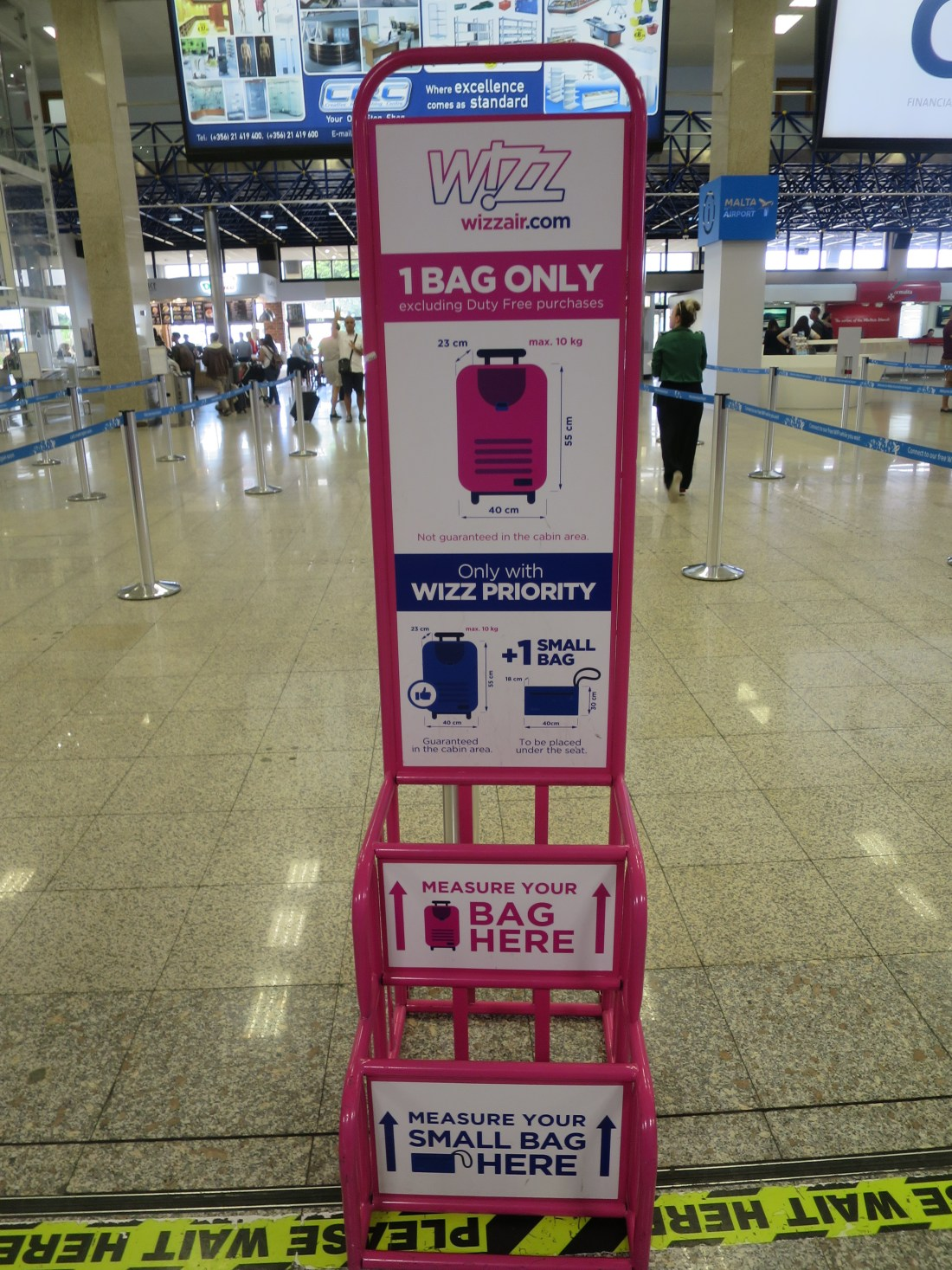 WizzAirの荷物制限(空港カウンターにて)