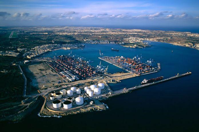 Aerial shot of Malta Freeport. (source: Wikimedia Commons/Alecastorina93)
