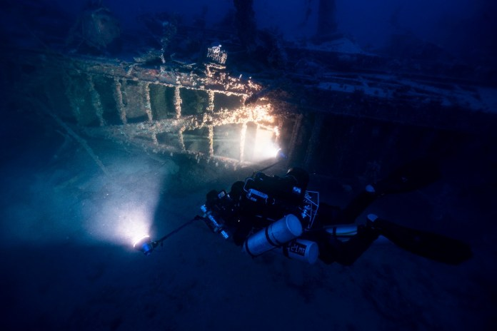 Team members of UCHU performing underwater filming at one of the heritage sites. (source: Heritage Malta/D. Gration)