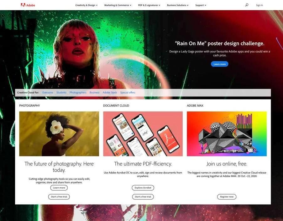 Adobe Website Homepage