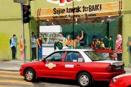 Att åka taxi är billigt men ofta går det fortare att gå då trafiken är tät och går i snigelfart.