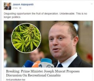 jason azzoppardi reacting to Joseph muscat calling for a discussion on the legalisation of recreational cannabis in Malta