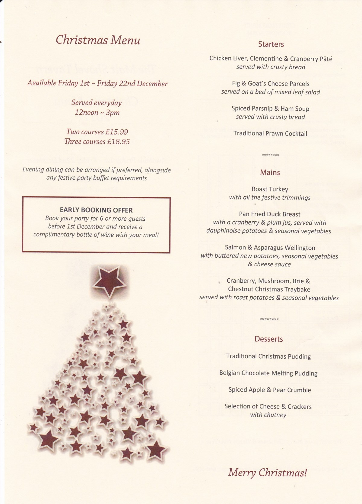 Malt Shovel Festive Menu