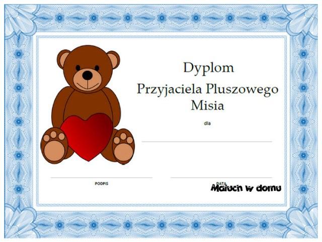 Dyplomy Przyjaciela i Przyjaciółki Pluszowego Misia