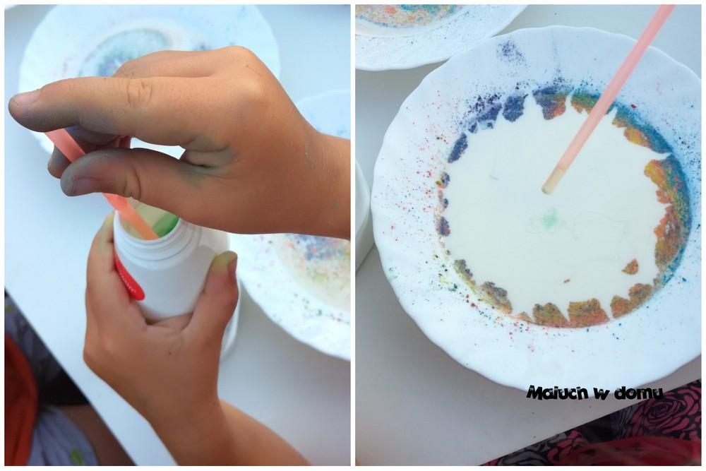 Łatwe doświadczenie dla dzieci z mlekiem i kredą