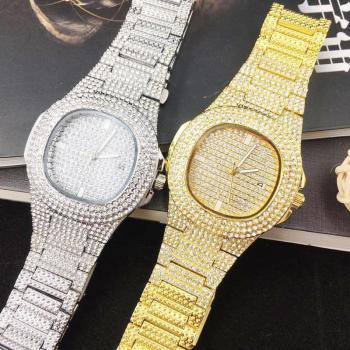 Relógio Unissex Banhado A Ouro 18k Pedras Em Zirconia