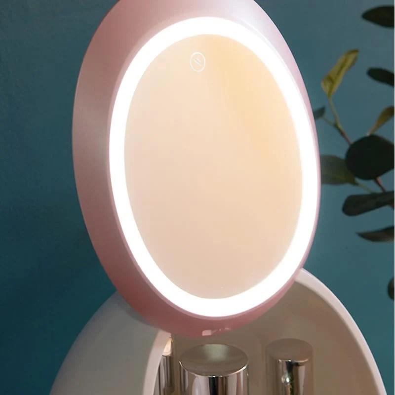 Porta Cosméticos Com Espelho E Luz De Led