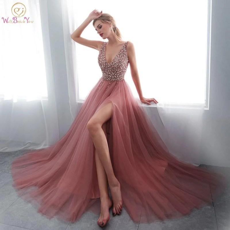 Vestidos Longo Com Fenda - Rosa - M