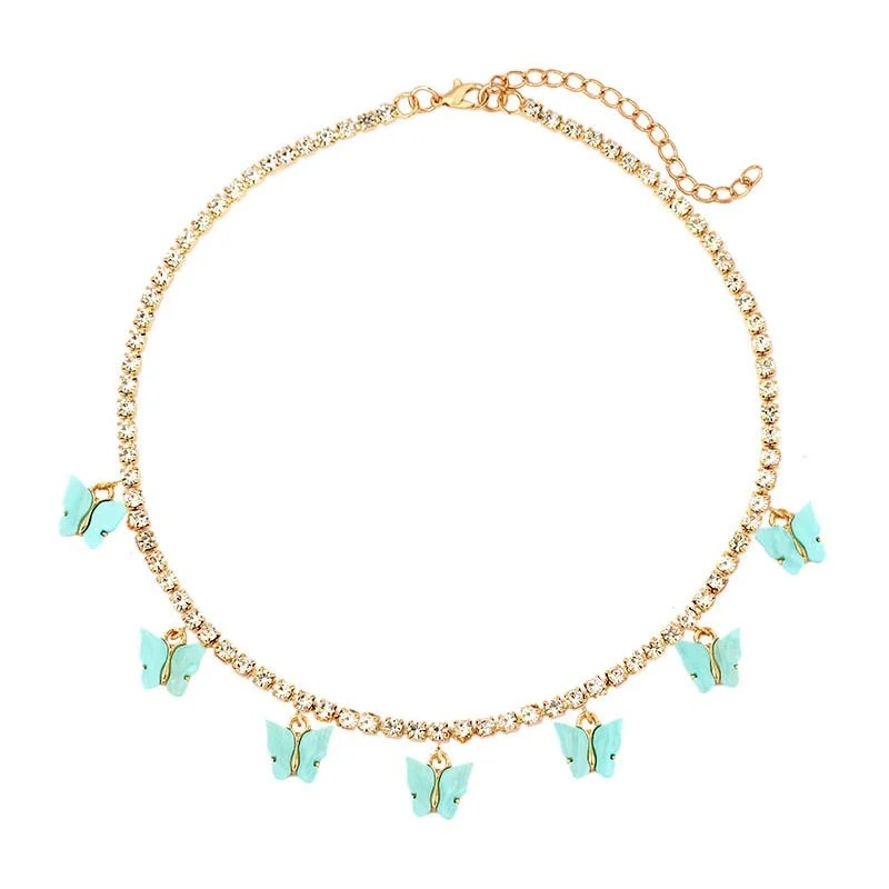 Strass brilhante pingente de borboleta colares para mulher ouro prata cor cereja tênis colar na moda festa aniversário jóias