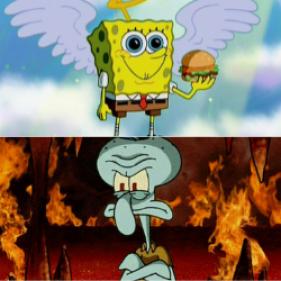 spongebob angel squidward devil