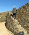 Steps built into the dry stone terrace walls.  Note how they were engineered, canting inward to avoid workers losing their balance and falling off the edge.
