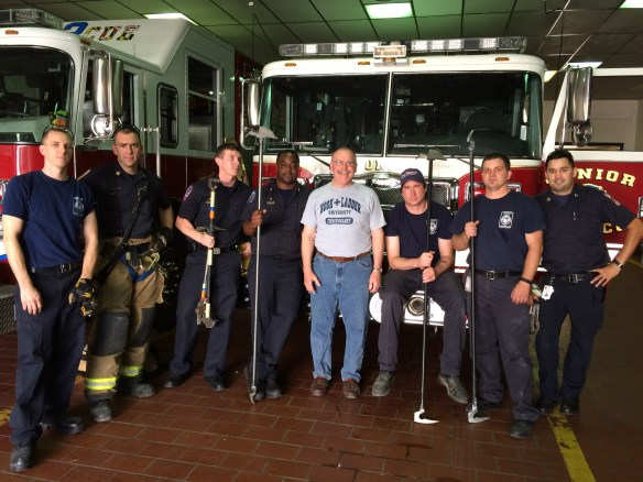 The combined mob of Frederick Squad 2 and Squad 3 firefighters involved in preliminary testing of Hallux various Hallux prototypes.