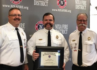 Nixa FPD recognized Adam's certification as a Chief Fire Offiecer by the Commission on Professional Credentialing