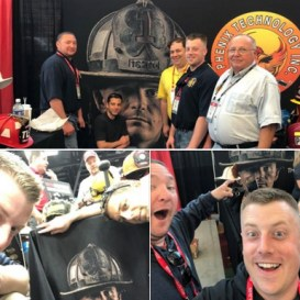 Uh-oh. A band of HVFD alums looking for fun rediscover former Deputy Chief Matt Leonard's poster for Phenix helmets at a recent FDIC.
