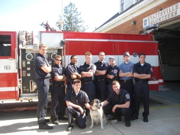 Bunkroom crew after a typical afternoon's round of apparatus and equipment maintenance.