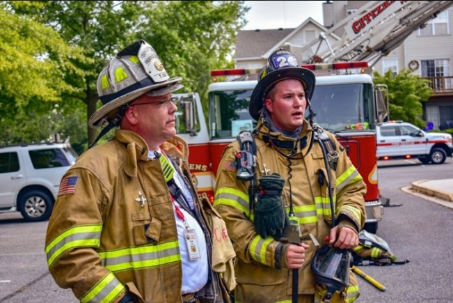 Incident commander, Chief Tom Coe, with FF Derek Rosensteel, Walkersville Squad 24. Derek, who is also a volunteer with Company 6, Emmitsburg, has had his 4' Hawk Tool since before he joined FCFR.