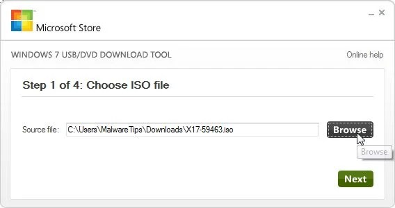 [Image: Browse to Windows 7 ISO]