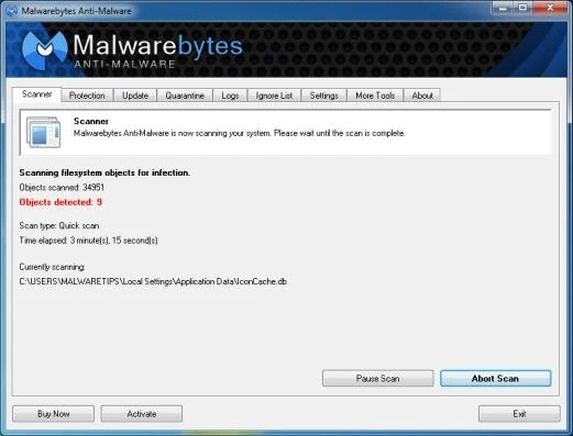 [Image: Malwarebytes Anti-Malware scanning for Searchiu.com]