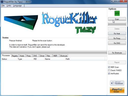 [Image: RogueKiller scaning for Warning! Critical update! virus]