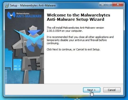 [Image: Malwarebytes Anti-Malware Setup Wizard]