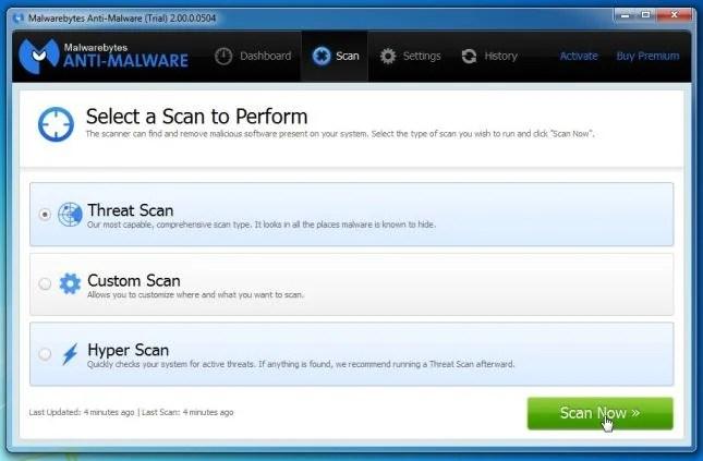 [Image: Malwarebytes Anti-Malware Threat Scan]