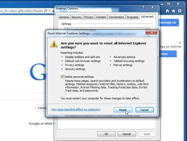 [Immagine: Ripristina le impostazioni di Internet Explorer predefinite per rimuovere UNISales]