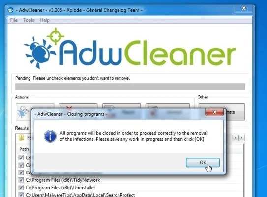 AdwCleaner il il malware RIMOZIONE