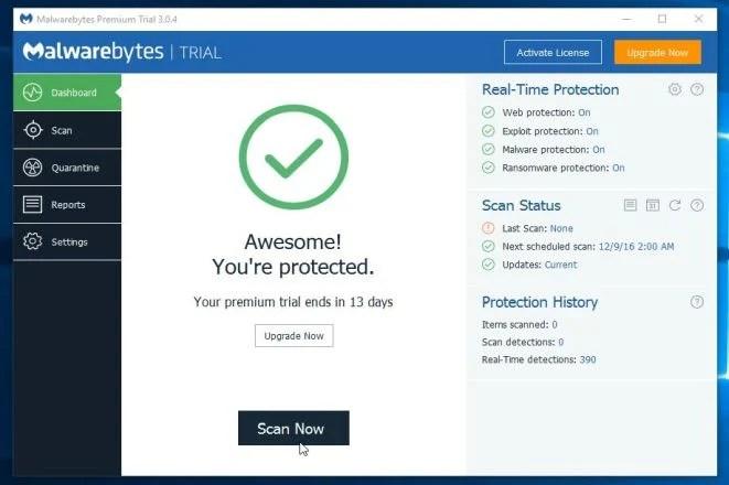 Malwarebytes Anti-Malware Scan Now