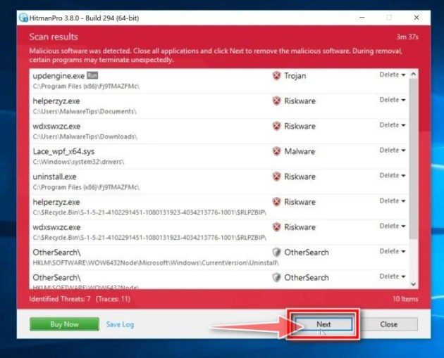 HitmanPro scan summary. Click Next to remove Scuseami.net redirect