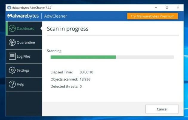 AdwCleaner Scanning for Scuseami.net virus