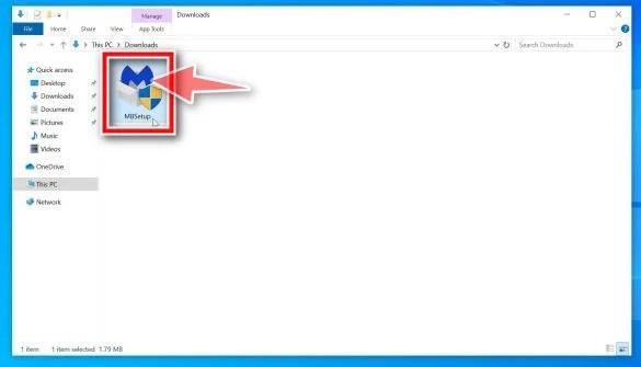 Double-click on MBSetup installer to install Malwarebytes