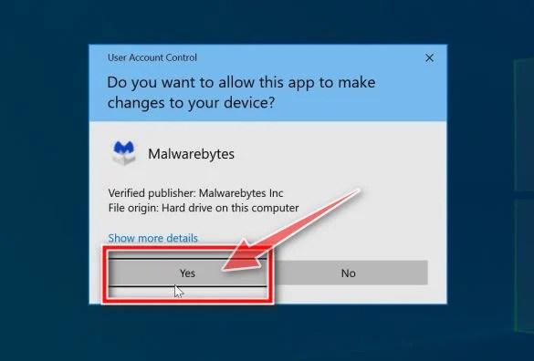 Windows asking for permission to run the Malwarebytes installer