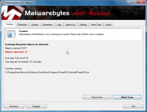[Image: Malwarebytes scanning for malicious files]