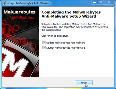 [Image: Finishing Malwarebytes installation]