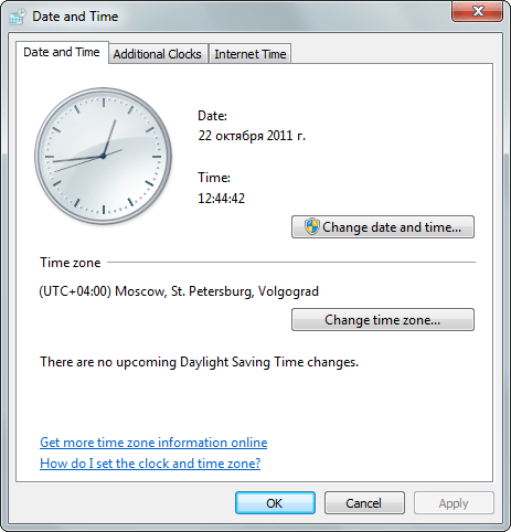 Time Zone: (UTC+04:00) Moscow, St. Petersburg, Volgograd. There are no upcoming Daylight Saving Time changes. (Windows 7)