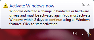 Balloon notification: Activate Windows now