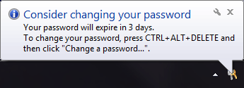 Consider changing your password: Your password will expire in 3 days.