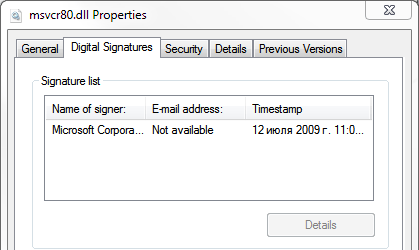 Digital signature of msvcr80.dll from merge module