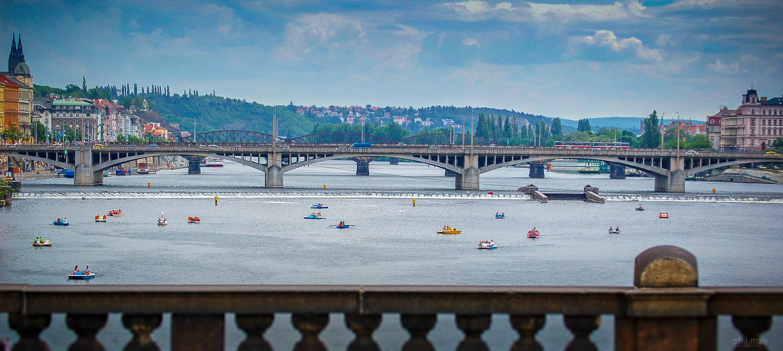 Pedalos on the Vltava river of Prag