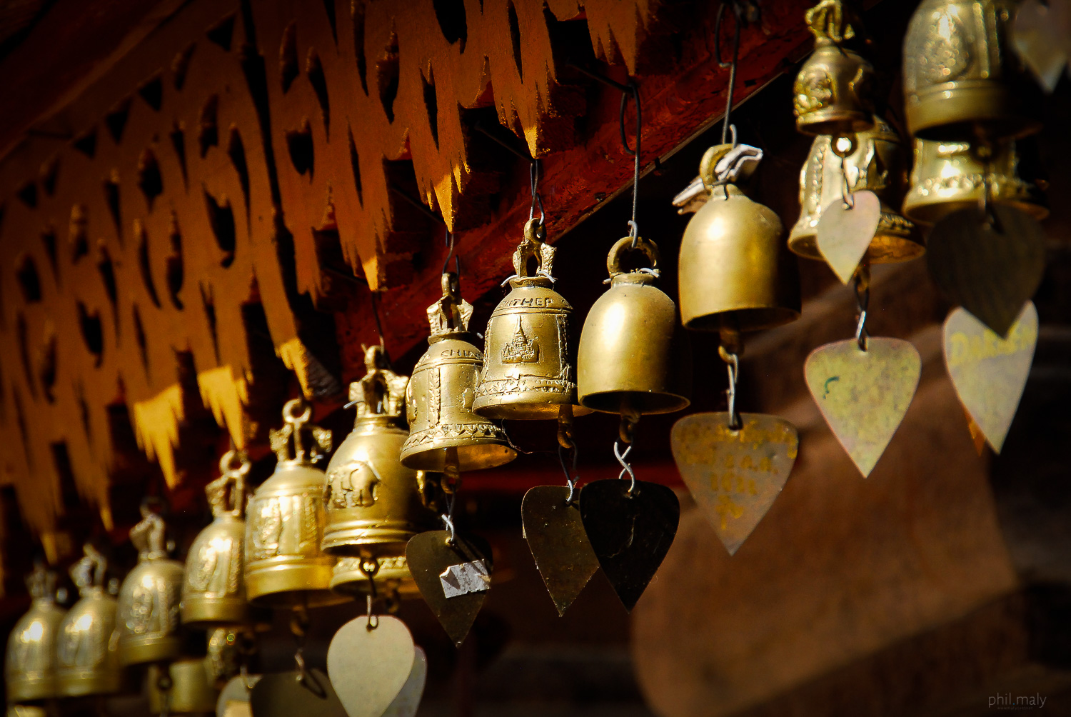 Row of worshipping bells in a Buddhist temple
