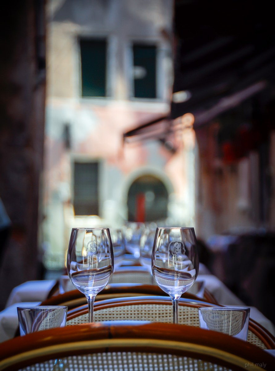 Terrasse of a restaurant with tables ready for lunch