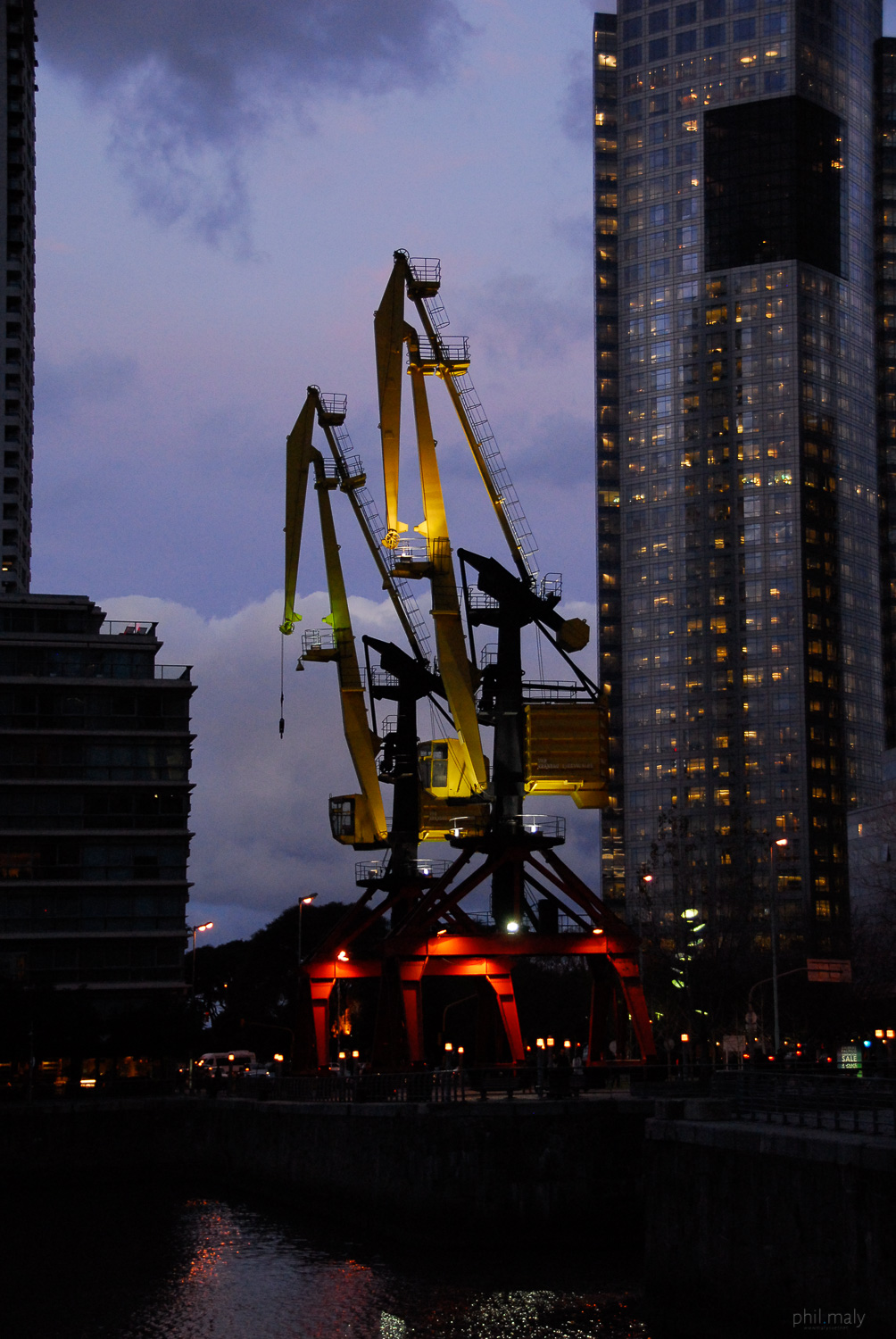 The docks of Puerto Madero in Buenos Aires at night