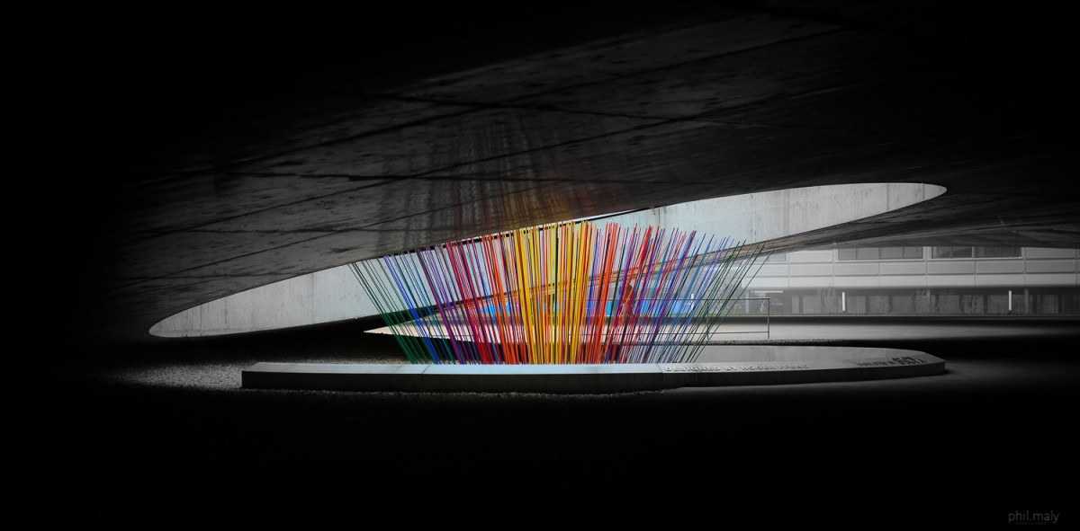 Colorful sticks under the Rolex Learning Center at EPFL