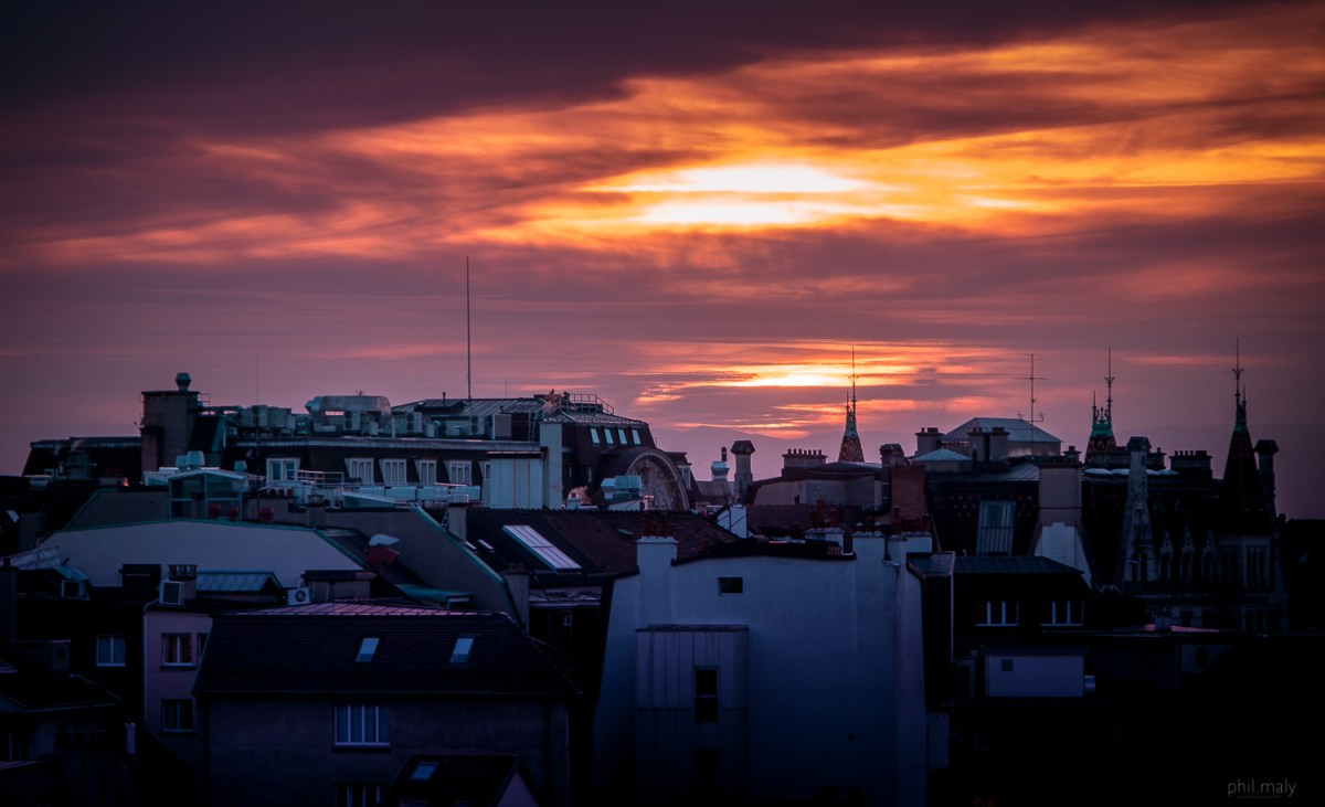 Sunset over the rooftops of Lausanne